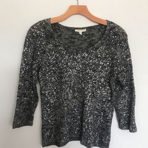 Eileen Fisher Petite Blck  Silver Linen Sweater PS